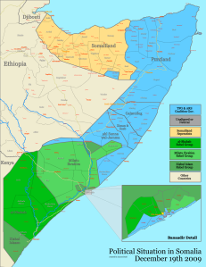 Al Shabaab territorial control in Somalia at its zenith in January 2010